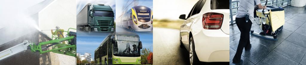 Esimerkkejä käyttökohteista - julkisivut, raskaat ajoneuvot, autot, kiinteistöjen sisätilat ja hygienia